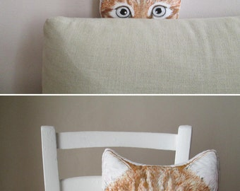 orange cat decorative pillow ginger cat tabby srtiped red cat funny throw pillow for cat lovers crazy cat lady