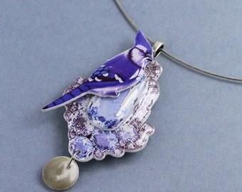 blue bird necklace, romantic statement choker
