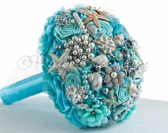 "Aqua Mint Destination Wedding Brooch Bouquet. ""See Sea Zoo"" Starfish Beach Wedding Broach Bouquet, Sea Shell Brooch Bouquet, Ruby Blooms"