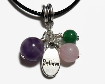 Metaphysical crystal and stones necklace, Believe charm necklace, amethyst necklace, rose quartz necklace, green aventurine, cluster charm