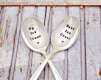 Ice Cream Spoon Set - Hand Stamped - His Hers - Mine Yours - My Your - Dessert Spoons - Vintage Silver Plated Silverware - Gift