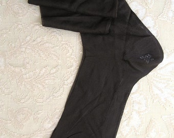 Vintage 20s Flapper Seamed Silk Stockings.  Cuban Heel, Dark Brown Color Unworn