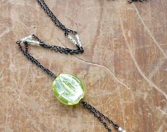 Lemon Czech Glass Necklace, Czech Glass necklace with Black Chain, Silver Foil Czech Glass Necklace,
