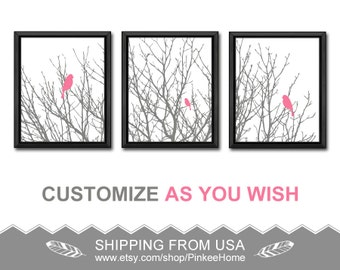 pink and grey birds on branches wall art, nature wall art, birds on tree modern art prints, bird on twig prints, love birds on the tree trio