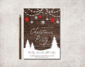 Christmas Invitation Printable, Digital File - Christmas Party Invite, Snowflakes Winter Invite