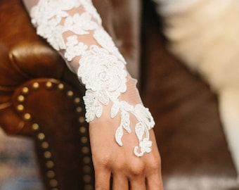 Wedding gloves, bridal gloves, lace bridal cuffs, embroidered lace flowers fingerless gloves -- Style 363 JAYDA