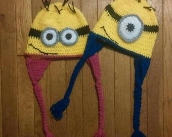 Crocheted Crochet Minion Inspired one eye two eyes ear flaps Hat Boy Girl