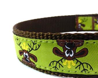 Reindeer Dog Collar in Green / Christmas dog collar/ ribbon dog collar/ adjustable dog collar/ martingale dog collar