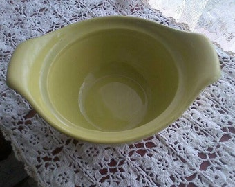 Vintage Chartreuse Green Hull Pottery Bowl, Double Handle, Oven Proof B 4