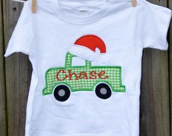 Truck with Santa Hat Applique Shirt or Onesie Boy or Girl