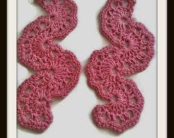 Crochet Wedge Earrings  ,  Crochet Earrings  ,  Wedge Earrings  ,  Rose Thread Earrings ,  Rose Crochet Earrings , Rose Wedge Earrings