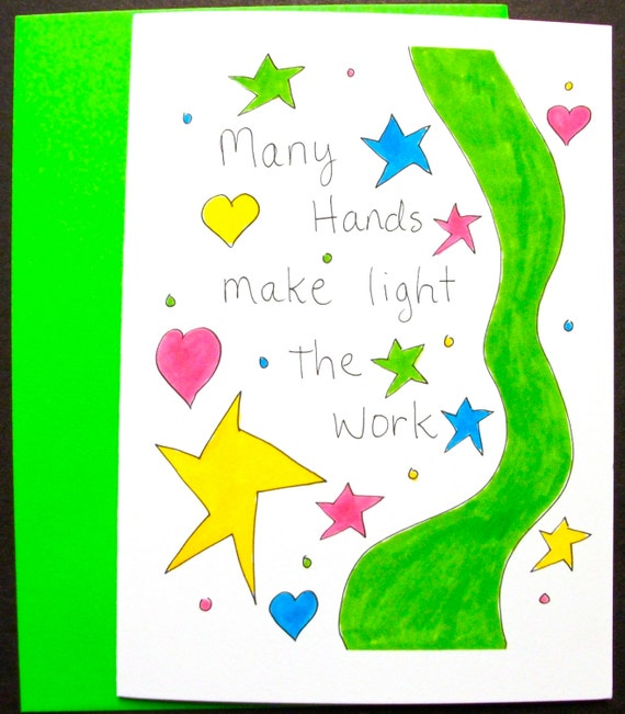 """Many Hands Make Light Work Quote Bible: Items Similar To Quote Card """"Many Hands Make Light The"""