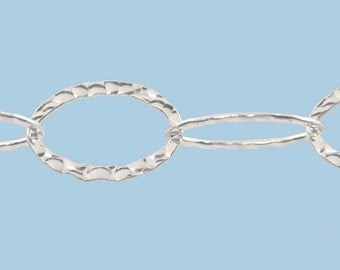 Sterling Silver Chain by the Foot, Hammered Cable Chain, 20mm Large Loop Chain, .925 Chain By The Foot, Wholesale Chain, 9127