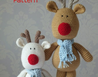 Crochet Reindeer Rudolf Amigurumi PATTERN ONLY PDF  Easy Christmas Crochet Pattern Stuffed Animal Toy