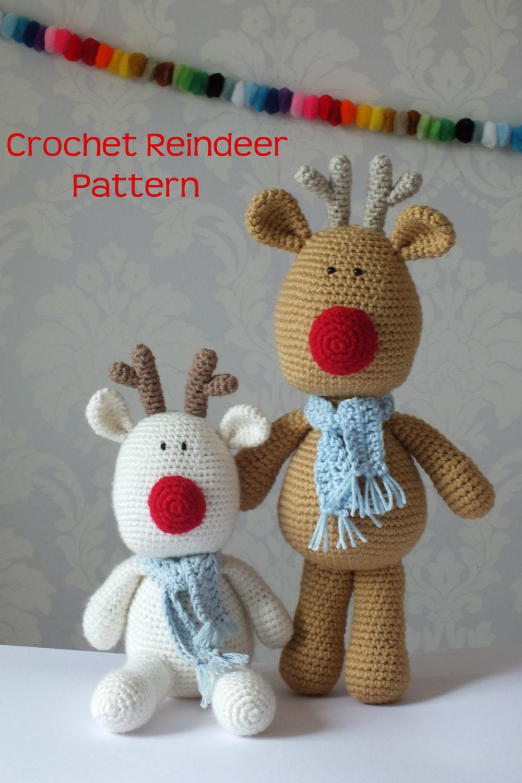Christmas Reindeer Amigurumi : Crochet Reindeer Rudolf Amigurumi PATTERN ONLY PDF Easy