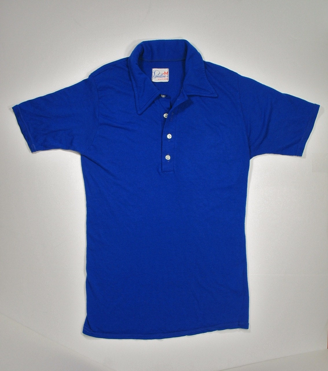 60s Knit Collared Shirt Royal Blue Mod Short Sleeve Four