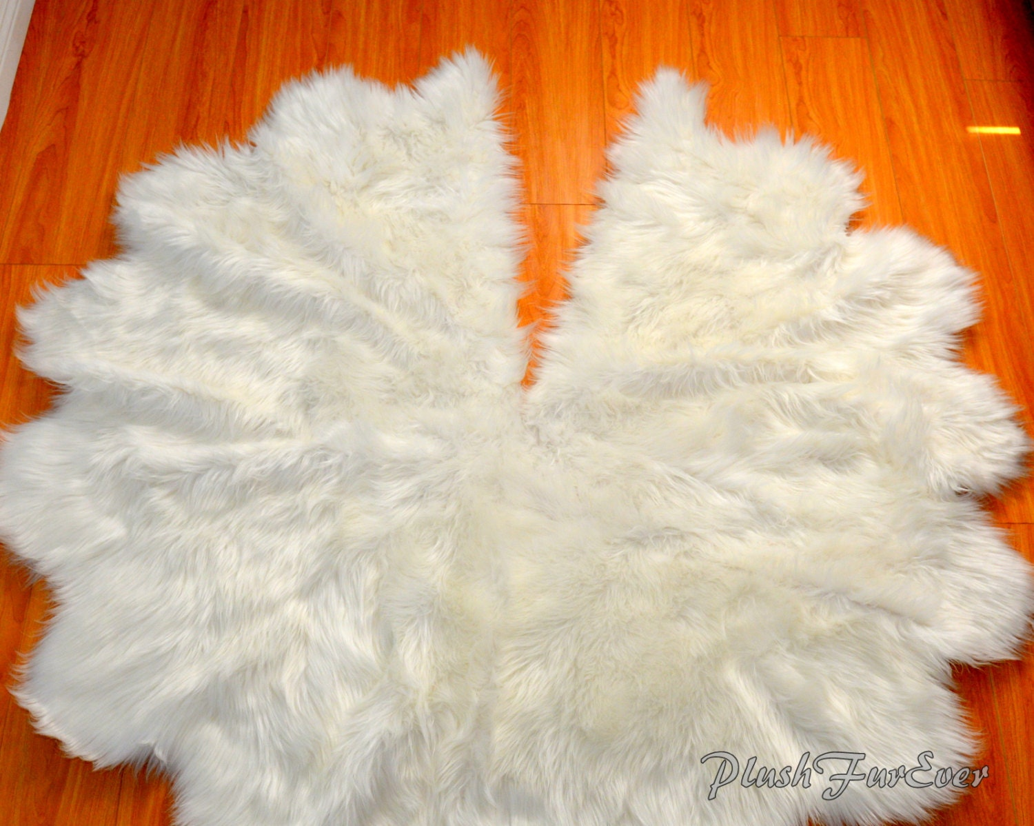 Faux fur tree skirt christmas decor white sheepskin