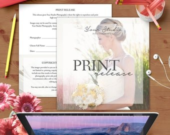 Print Release Form - Photoshop Template for Photographers - INSTANT DOWNLOAD - PR001