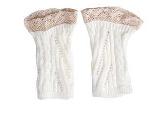 Women Knit Lace Short No Button Leg Warmers, Boot Socks, Leg Sweaters, Cable Knit Socks-White