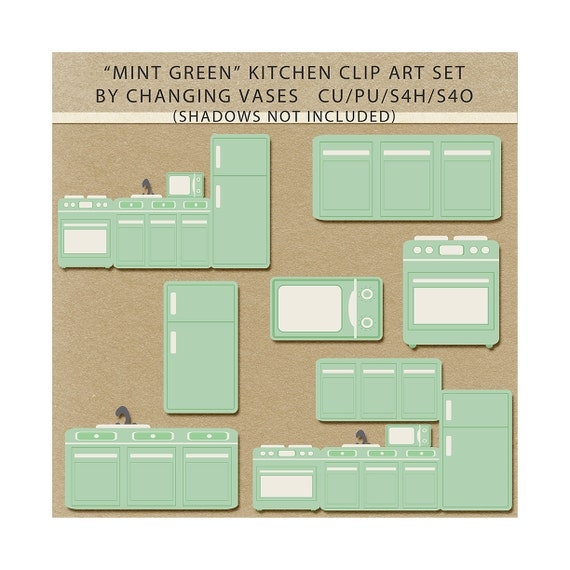 Mint Green Kitchen Appliances: Items Similar To Pastel Mint Green Kitchen Clipart Clip