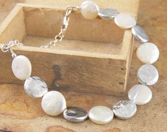 Round Pearl Bracelet - Sterling Silver Bracelet - Bridal Bracelet - Simple Bracelet - Statement Bracelet - June Birthstone - Jackson Jewelry