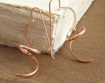 Statement Earrings, Rose Gold Dangle Earrings, Rose Gold Drops, Gold Dangly Earrings, Long Earrings, Curly Earrings, Wire Earrings, Designer