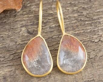 Gemstone Drop Earrings, Golden Rutilated Quartz Earrings, Gold Dangle Earrings, Statement Earrings, Gold Gemstone Earrings, Unusual Gemstone