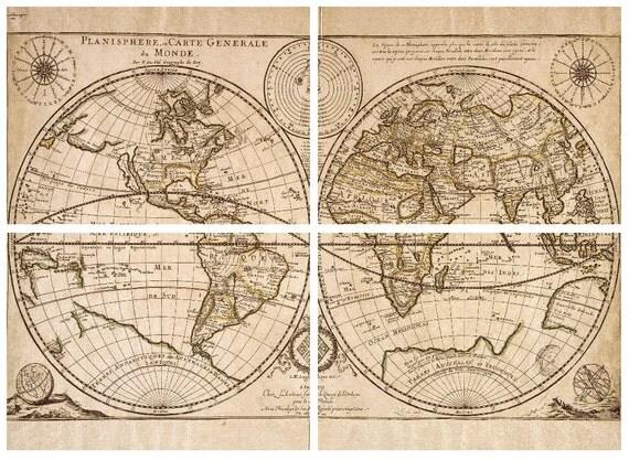 Sale 4 Charity Diy Large Antique World Map Vintage Old World