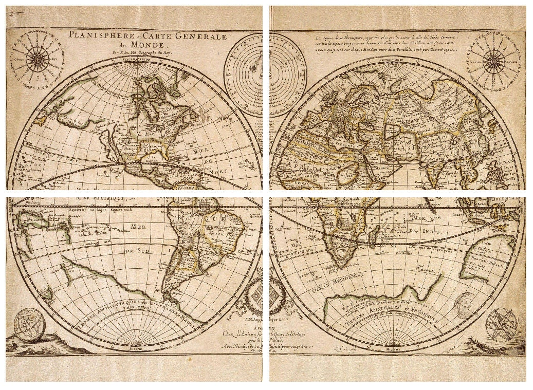 Sale 4 Charity DIY Large Antique World Map Vintage Old World
