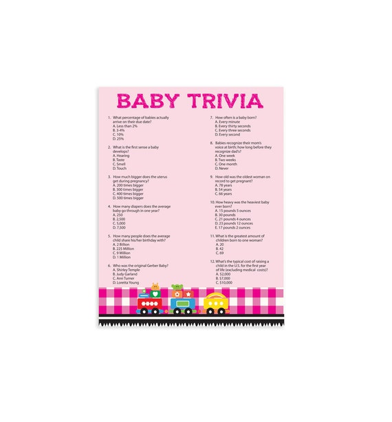 printable baby shower game baby trivia by thevintagepen on etsy
