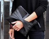 Linen Leather Web Detail Cross Body Bag / Clutch in Black Linen & Black Leather, iPad Size, handmade in Finland