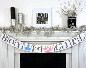 Boy or Girl Banner / Gender Reveal Party Decoration / Baby Announcements / Baby Shower / Nursery Garland Sign / Baby Onesie