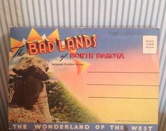 Vintage 1950s North Dakota Badlands Postcard Folder