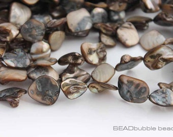 Shell Nugget Beads 15 - 23mm Coffee Brown 38cm Strand approx 21 beads (BSH021)