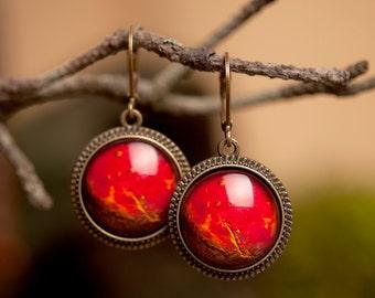 Planet Venus earrings, dangle earrings, glass earrings, antique brass earrings, constellation earrings, leverback earrings, space earrings