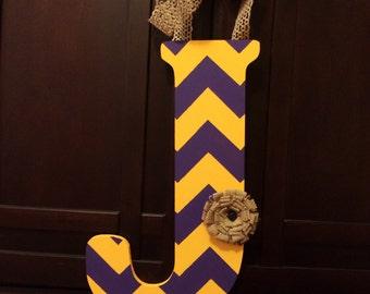Handpainted Letter J in Yellow & Purple