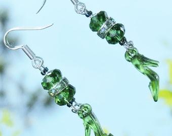 Green Shoe Earrings, High Heel Shoe Dangle Earrings in Kelly Green, Green Stiletto Earrings