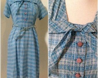 Vintage 1950s Blue Checked Picnic Dress (Size 12 Aust/8 USA/12 UK)
