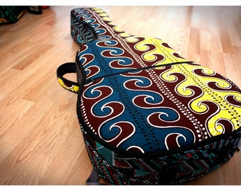 Made-to-Order Custom Guitar hybrid gig bag/case, Vlisco fabrics, contoured & padded backpack straps, extra thick padding