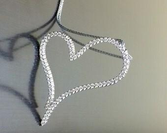 14K White Gold Heart Diamond Necklace - 14K Gold Diamond Heart Pendant - Diamond Heart - Large Heart Diamond Pendant - Handmade Gold Heart