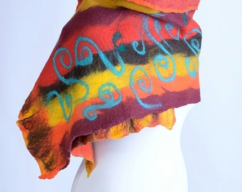 SALE -20% - Red striped nuno felt wrap or shawl with turquoise swirls - wide felted shawl, comfortable, made of merino wool & silk [S96]