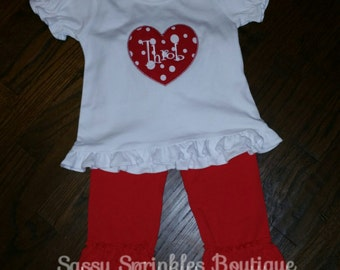 Valentines Day Red Heart Shirt with Red Triple ruffle pants, Ready to Ship 4t
