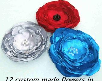 Wholesale Flowers Satin Fabric Flowers, Set of 12 Flowers, DIY Weddings, DIY Bride, Wedding Decorations, Custom Flowers, Headband Supplies