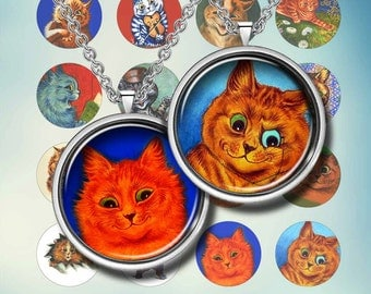 """COLORFUL CATS - Digital Collage Sheet – 1"""" & 1.5"""" circles – Printable Download for Pendants, Earrings, Charms"""