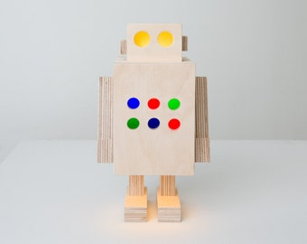 """Robot lamp made from plywood. Lamp is ready to use and includes LED bulb,cable and switch. Height is 26cm (10"""")"""