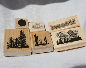 Stampin UP Wide Open spaces Rubber Stamp Set, RARE Retired Gently USED Set of 6, Scenery stamps, Nature Trees Stamps, Saguaro Stamps, Cloud