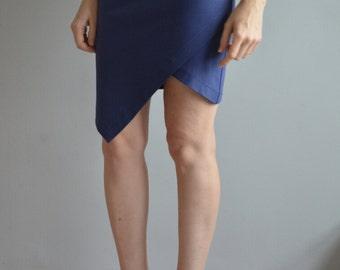 Mini skirt with asymmetric front detail