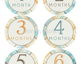 Baby Month Stickers Boy, Baby Boy Month Stickers, Plaid Baby Month Stickers, Baby Monthly Stickers, Baby Boy Plaid Monthly Stickers