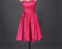 Pieces of red taffeta bridesmaid dresses,short bridesmaid gowns affordable,simple homecoming dress under
