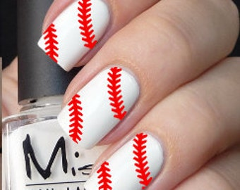 Baseball Softball Stitches Nail Decals